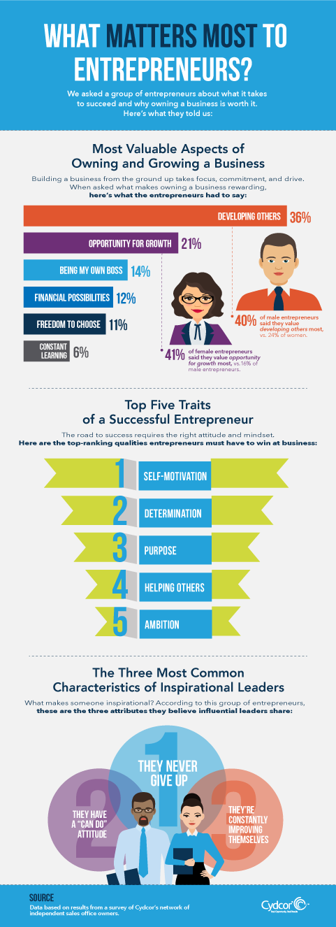 Infographic about entrepreneurship and the characteristics of entrepreneurs.