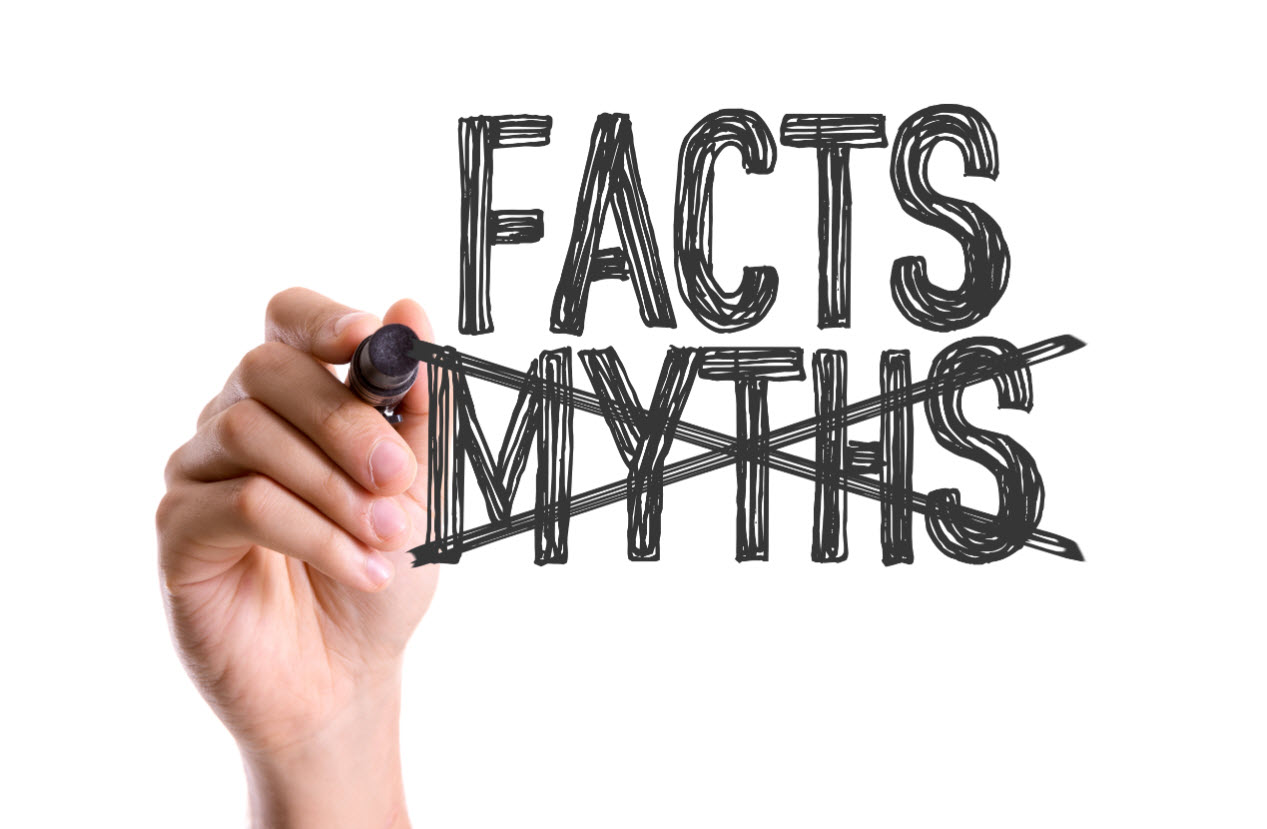 Hand drawing with marker on screen facts vs. myths