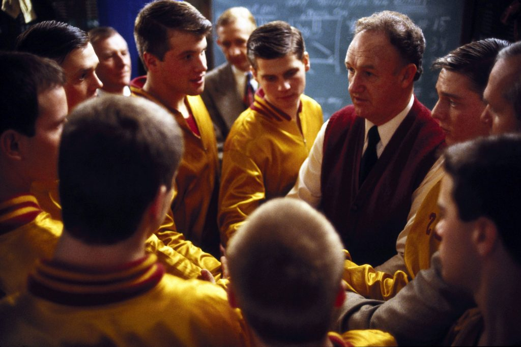 Gene Hackman giving a speech to the team in Hoosiers.