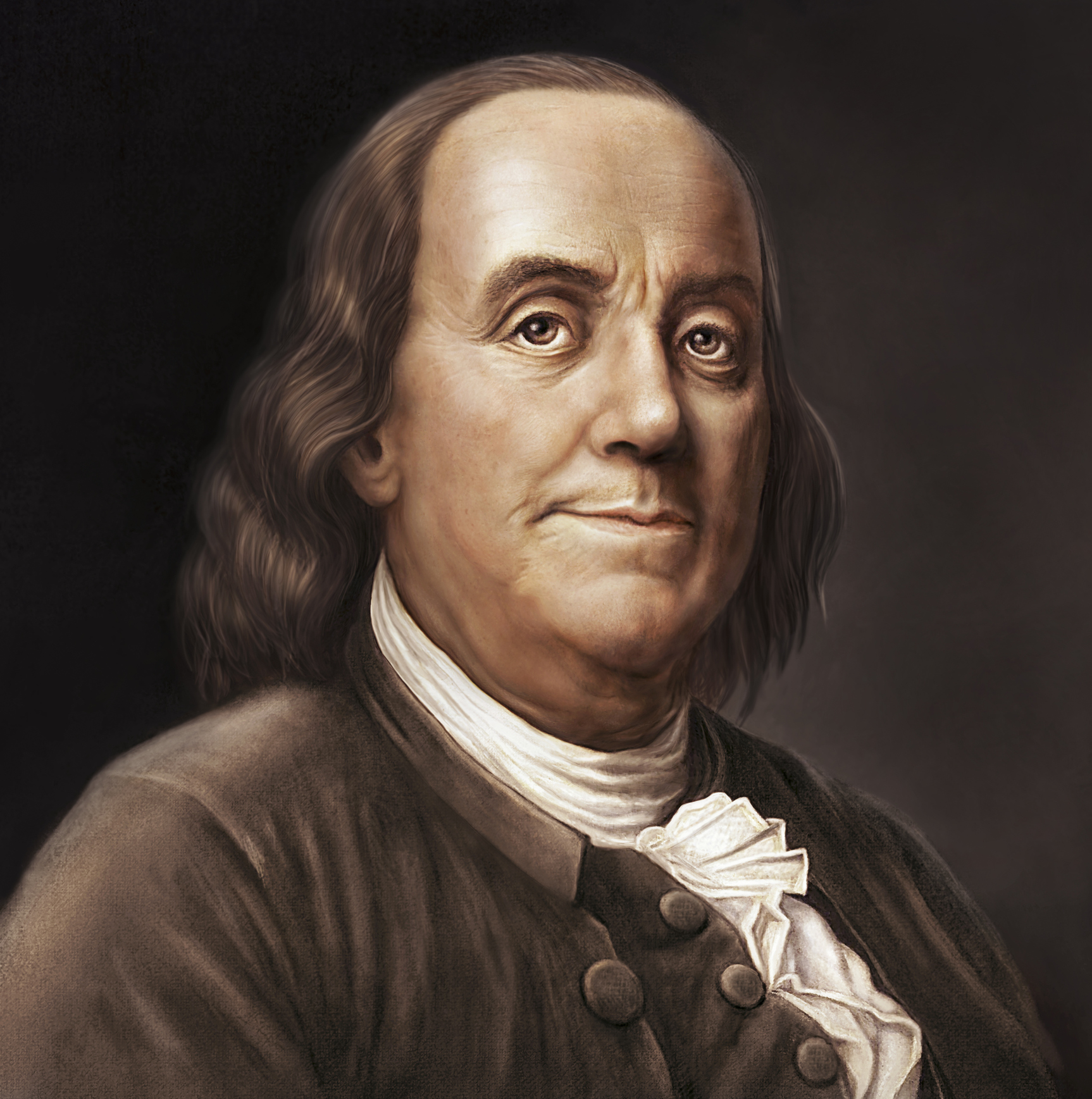Original digital painting by Joe Cicak (submitter). Based on the well-known portrait of Ben Franklin on the US 100 bill. Painting mimics classic painting styles of the 18th century. This painting is fully released.See also my illustration of George Washington.