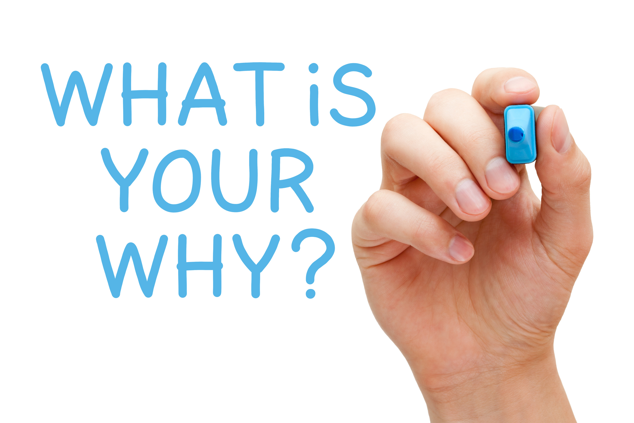 Hand writing a question What Is Your Why with blue marker on transparent wipe board.