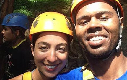 Austin Waggener poses with his girlfriend while ziplining in Thailand.