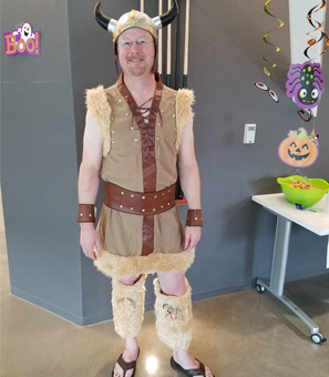 Doug Snyder is dressed up as a viking for Halloween at Cydcor.